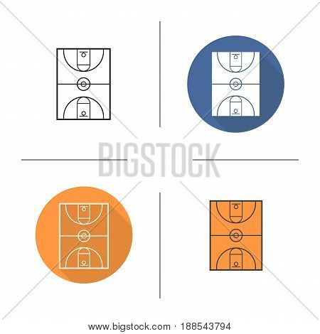 Basketball court icon. Flat design, linear and color styles. Isolated vector illustrations