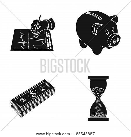 Bank, business schedule, bundle of notes, time money. Money and finance set collection icons in black style vector symbol stock illustration .