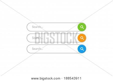 Search bar vector design element. Set of search bar boxes. UI interface template isolated on white background.