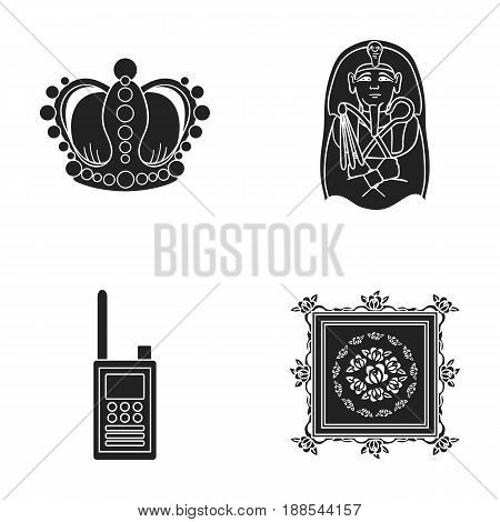 Crown, sarcophagus of the pharaoh, walkie-talkie, picture in the frame.Museum set collection icons in black style vector symbol stock illustration .