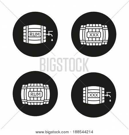 Alcohol wooden barrels icons set. Rum or whiskey wooden barrels with tap, drop and xxx sign. Vector white silhouettes illustrations in black circles