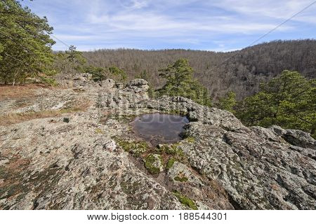 Rainfall Pond on a Rocky Outcrop in the Kings Bluff wilderness of Ozark National Forest in Arkansas
