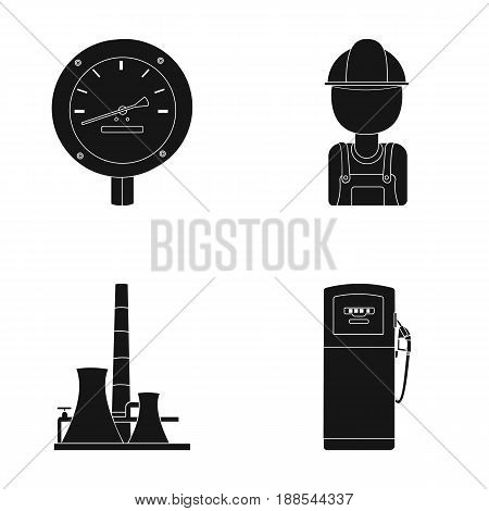 Manometer, worker oilman, fuel refueling, oil factory. Oil industry set collection icons in black style vector symbol stock illustration .