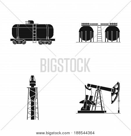 A railway tank, an oil storage, a drilling tower, an oil pump. Oil industry set collection icons in black style vector symbol stock illustration .