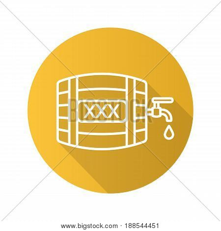 Alcohol wooden barrel. Flat linear long shadow icon. Whiskey or rum barrel with tap, drop and xxx sign. Vector line symbol