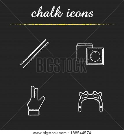 Billiard accessories chalk icons set. Pool equipment. Cues, chalk, glove, rest head. Isolated vector chalkboard illustrations