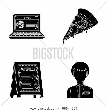Reception of orders, a piece of pizza, a menu in the pizzeria, a courier for delivery. Pizza and pizzeria set collection icons in black style vector symbol stock illustration .