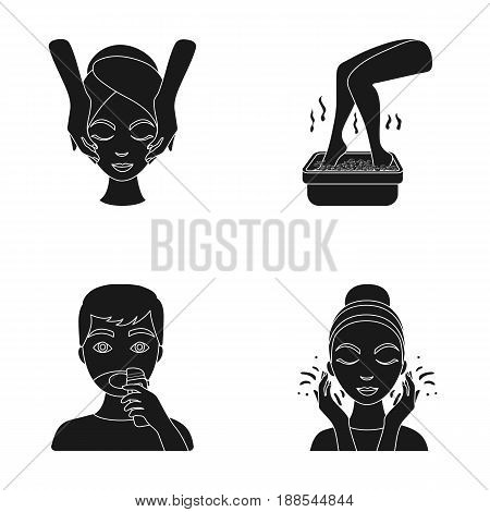 Face massage, foot bath, shaving, face washing. Skin Care set collection icons in black style vector symbol stock illustration .