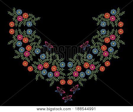 Colorful embroidery stitches imitation neck line frame with folk flower and butterfly. Floral wreath on black background. Embroidery illustration.
