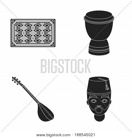 Turkish carpet, saz, drum, turkish men.Turkey set collection icons in black style vector symbol stock illustration .