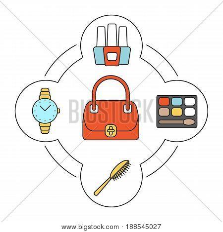 Women's handbag contents color icons set. Bag, hair brush, eye shadows, nail polish bottles, wristwatch. Isolated vector illustrations