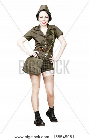 Portrait of Beautiful Brunette with black hair. Pin up Female Dressed in military clothing Uniform and Garrison cap. Smiling Army Pin-up Girl Concept