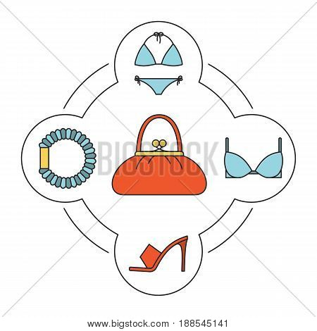 Woman's handbag contents color icons set. Swimsuit, bra, hair scrunchy, high heel shoe. Isolated vector illustrations