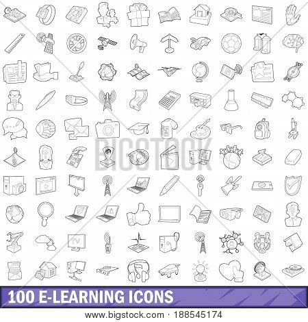 100 e-learning icons set in outline style for any design vector illustration