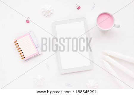 Woman's Desk Workspace With Pink Notebook, Tablet, Empty Blank, Pink Yogurt, White Pencil, Candles A