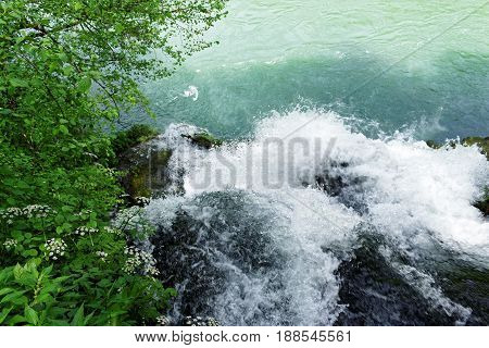 The river Vrelo flows into the river Drina via a waterfall