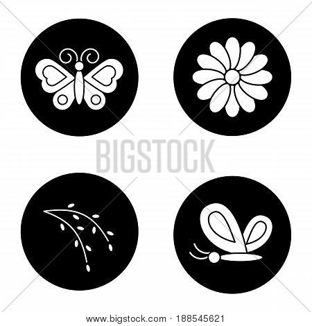 Spring icons set. Butterflies, aster flower, willow blossom. Nature. Vector white silhouettes illustrations in black circles