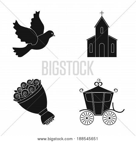 Pigeon, church, wedding bouquet, carriage. Wedding set collection icons in black style vector symbol stock illustration .
