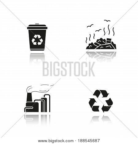 Waste management drop shadow black icons set. Recycle bin symbol, rubbish dump, factory pollution. Environment protection. Isolated vector illustrations
