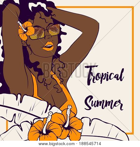 Tropical line art illustration of a curly haired brown-skinned woman surrounded by hibiscus flowers. Graphics are grouped and in several layers for easy editing. The file can be scaled to any size.