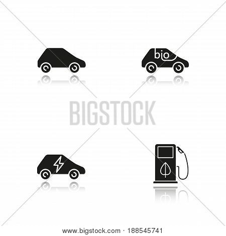 Eco friendly cars drop shadow black icons set. Bio, electric vehicles, eco fuel concept. Isolated vector illustrations