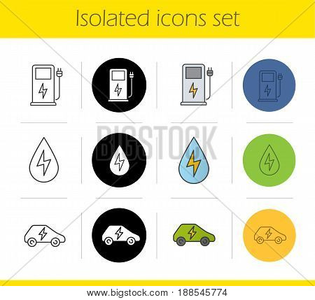 Eco energy icons set. Linear, black and color styles. Electric car, gas station, water energy. Isolated vector illustrations