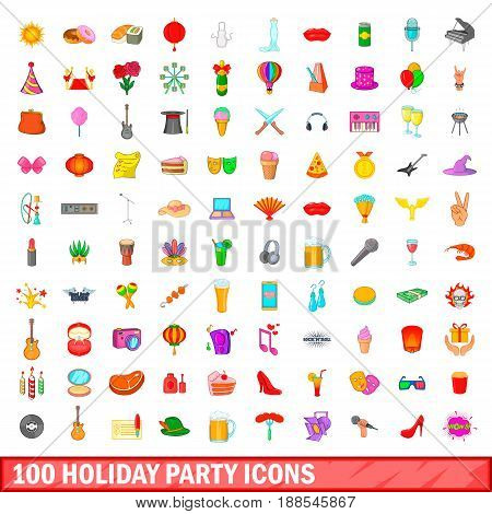 100 holiday party icons set in cartoon style for any design vector illustration