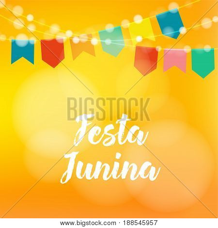 Brazilian Festa Junina greeting card, invitation. Party decoration, string of lights, paper flags, modern blurred background. Vector illustration.