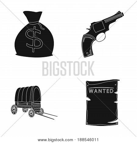 Bag with money, Colt, van, is being searched for. Wild West set collection icons in black style vector symbol stock illustration .