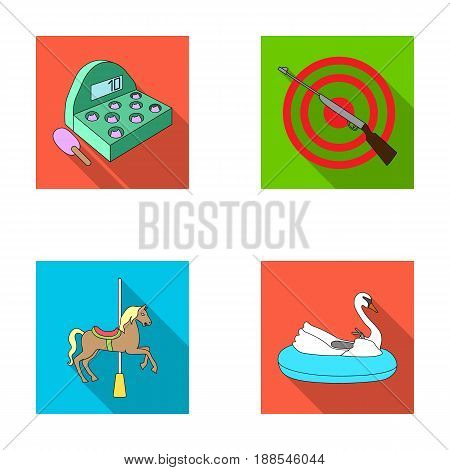 A game with a bat, a target with a gun, a horse on a carousel, a swan attraction. Amusement park set collection icons in flat style vector symbol stock illustration .
