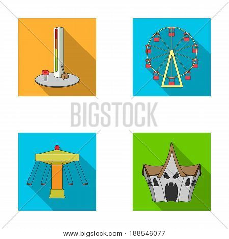 The device with a bat for measuring strength, a ferris wheel, a carousel, a house with windows. Amusement park set collection icons in flat style vector symbol stock illustration .