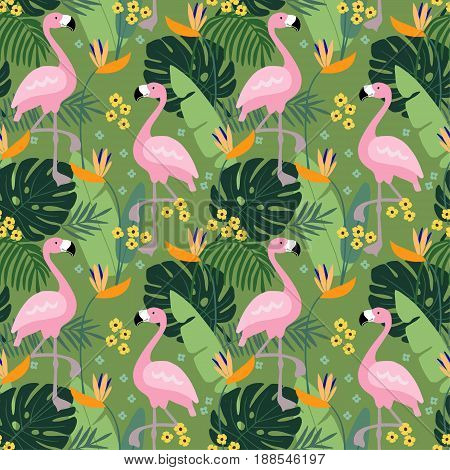 Tropical jungle seamless pattern with flamingo bird, palm leaves and flowers, flat design, vector illustration background.