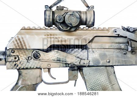 Close-up shot of Kalashnikov rifle receiver cover with collimator, automatic weapons isolated on white background. Gun is painted desert camouflage