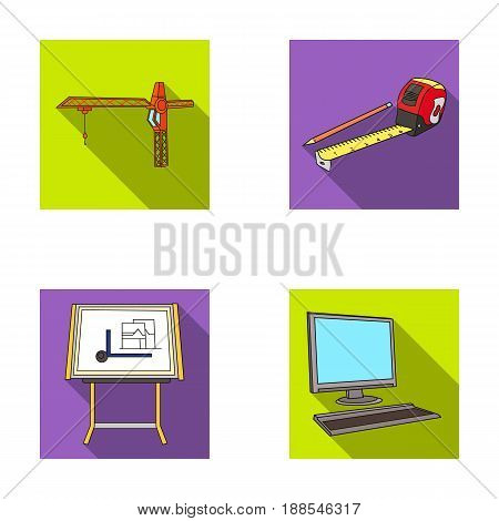 Construction crane, measuring tape measure, drawing board, computer. Architecture set collection icons in flat style vector symbol stock illustration .