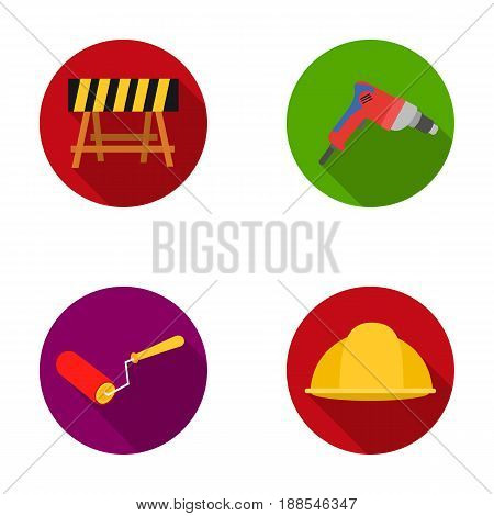A barrier on the construction site, an electric drill, a roller for painting and a helmet. Build and repair set collection icons in monochrome style vector symbol stock illustration .