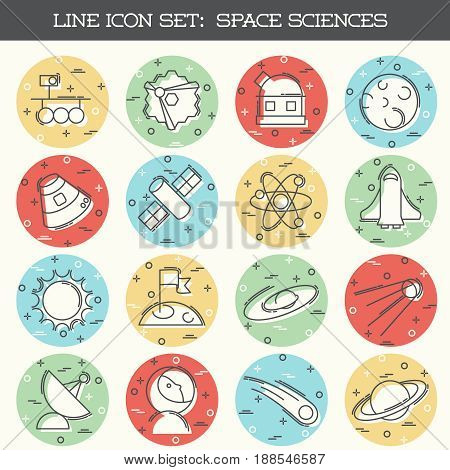 Set of 16 thin line style flat icons with a space science theme. Graphics are grouped and in several layers for easy editing. The file can be scaled to any size.