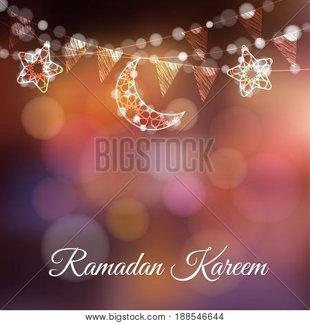 Garlands with decorative moons, stars, lights and party flags. Vector illustration card, invitation for Muslim community holy month Ramadan Kareem, colorful festive blurred background.