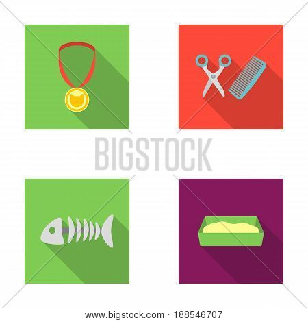Medal on the ribbon, haircut for the cat, fish bone, a tray with sand.Cat set collection icons in flat style vector symbol stock illustration .