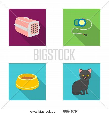 A container for an animal, a roulette leash, a bowl of food, a kitten.Cat set collection icons in flat style vector symbol stock illustration .