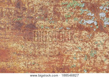 surface of rusty iron with remnants of old paint, chipped paint, grunge metal surface, texture background