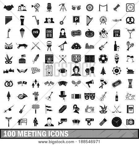 100 meeting icons set in simple style for any design vector illustration