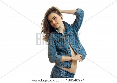 Cheerful young woman in casual jeans clothes smiling on camera isolated on white background