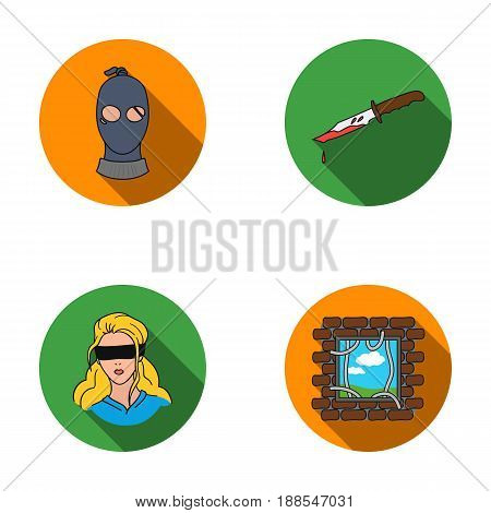 A thief in a mask, a bloody knife, a hostage, an escape from prison.Crime set collection icons in flat style vector symbol stock illustration .