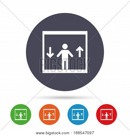 Elevator sign icon. Person symbol with up and down arrows. Round colourful buttons with flat icons. Vector