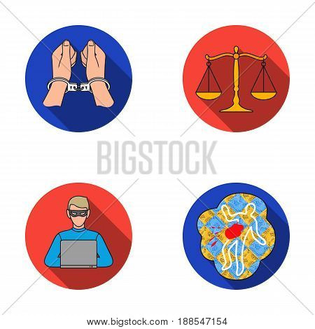 Handcuffs, scales of justice, hacker, crime scene.Crime set collection icons in flat style vector symbol stock illustration .
