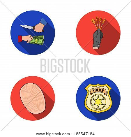 Robbery attack, fingerprint, police officer's badge, pickpockets.Crime set collection icons in flat style vector symbol stock illustration .