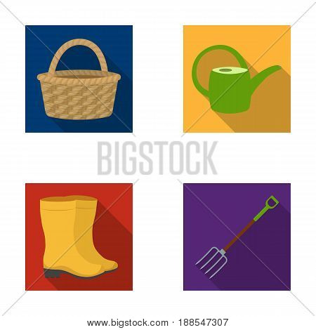 Basket wicker, watering can for irrigation, rubber boots, forks. Farm and gardening set collection icons in flat style vector symbol stock illustration .