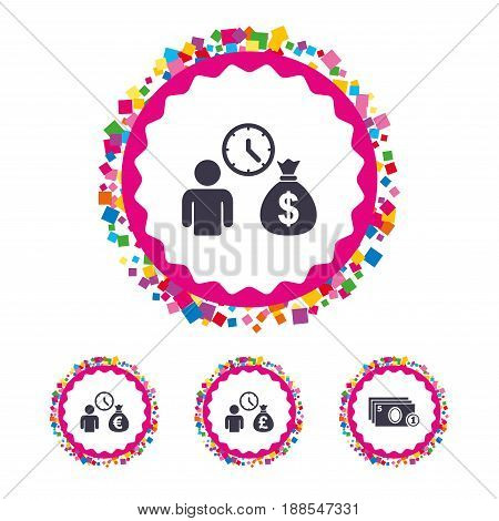 Web buttons with confetti pieces. Bank loans icons. Cash money bag symbols. Borrow money sign. Get Dollar money fast. Bright stylish design. Vector