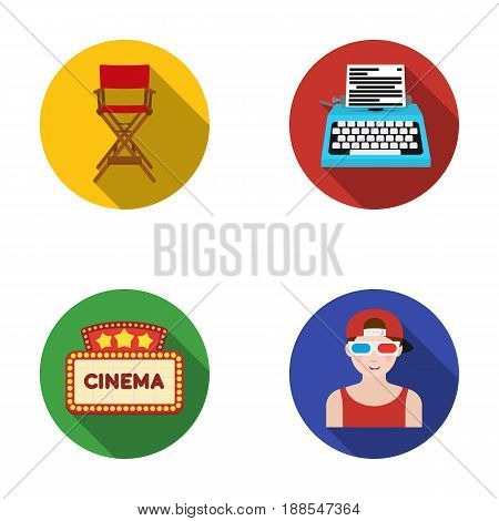 Chair of the director, typewriter, cinematographic signboard, film-man. Films and cinema set collection icons in flat style vector symbol stock illustration .