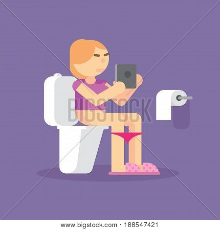 Girl in toilet uses a tablet on blue background. Woman sitting on toilet with an electronic tablet vector illustration